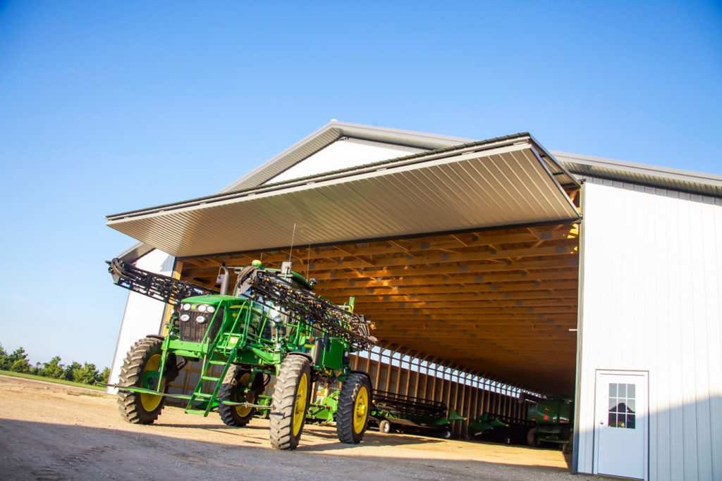 Agricultural door with equipment