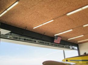 Inside view of bi-fold hangar door