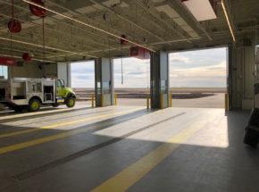 Vertical bi-fold airport door
