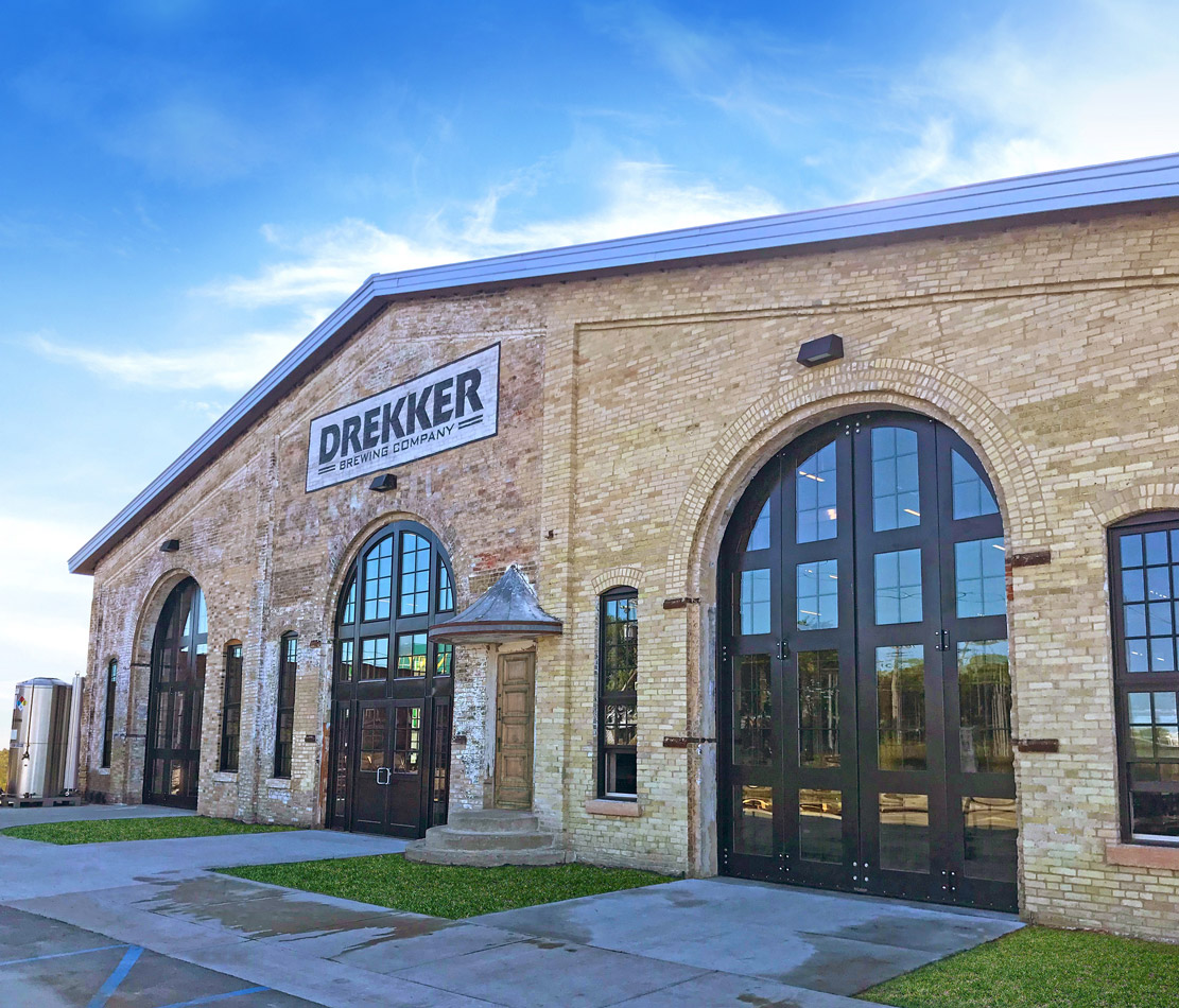 Custom doors by Midland Door Solutions offer the perfect grand entrance to Drekker Brewing Company